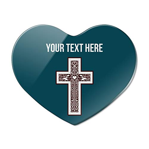 Personalized Custom 1 Line Cross Christian Religious Heart Acrylic Fridge Refrigerator Magnet -