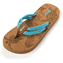 Just Speed Flip-Flops Sandals Girls Juniors Fashionable Everyday Color Strap Cord Beige Printed Footbed
