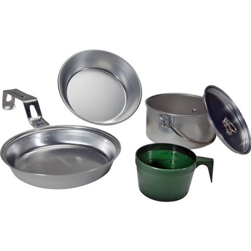 Open Country 4362-3585 Individual Aluminum Mess Kit, 5-Piece (Utensils Fire Open)