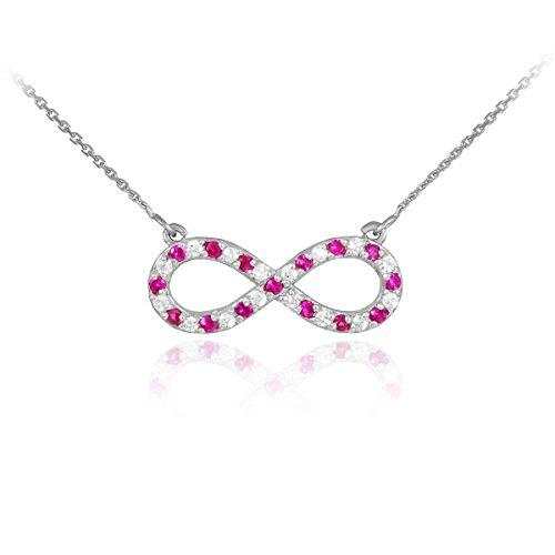 Petits Merveilles D'amour - 14 ct 585/1000 Diamants en or Blanc et Rubis Collier Infinity
