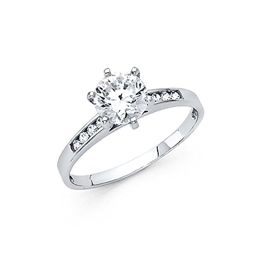 (Solitaire CZ Engagement Ring 14k White Gold Round Anniversary CZ Band Channel Set Side Stones Size 9)