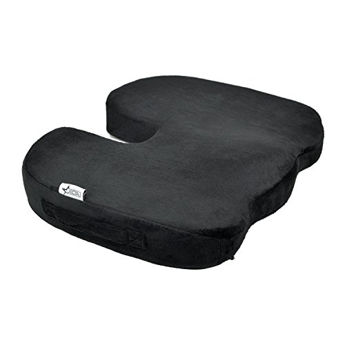 Comfort Seat Pad (Orthopedic Comfort Memory Foam Seat Cushion, Office Chair Wheelchairs and Car Seat Pads, For Coccyx Lower Back Support, To Relieve Back & Tailbone Pain and Sciatica (Black))