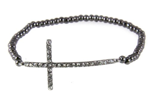 4030867 Petite Hematite Sideways Cross Stretch Bracelet Christian Fashion Side - Hematite Cross Rhinestone