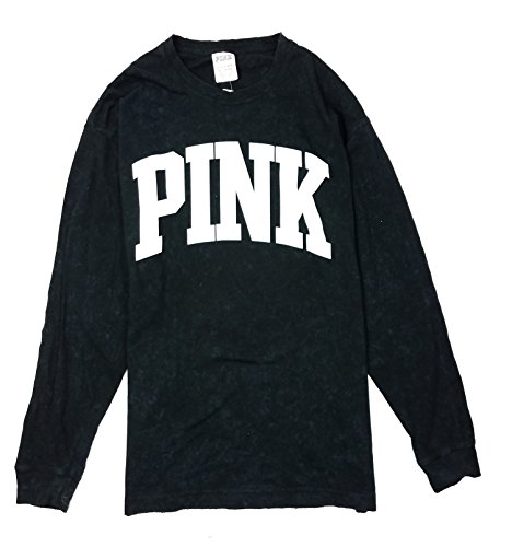 Victoria's Secret Pink Campus Long Sleeve Tee, Black White Logo, X-Small from Victoria's Secret