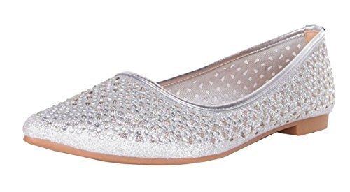Walking Pumps Metallic Flat Shoes On Ballerina Glitter Slip Flat K23 Silver Womens Shimmer Ladies 5qwxnvz