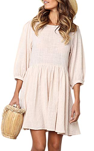 ECOWISH Women's Dresses Half Sleeve Cotton Linen Pleated Round Neck Solid Casual Mini Dress Beige L ()