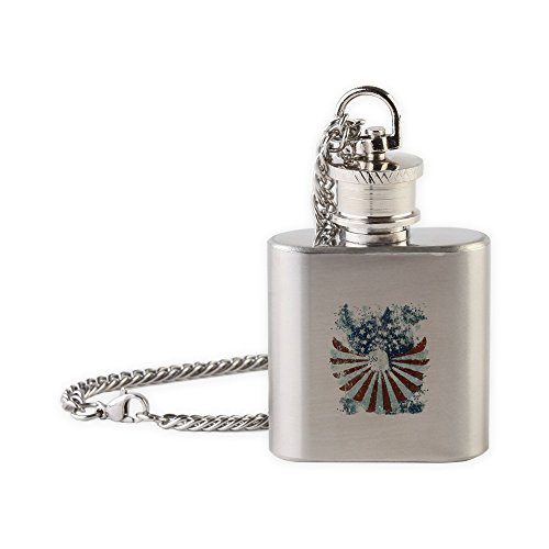 (Flask Necklace US Flag Eagle Military American Pride)