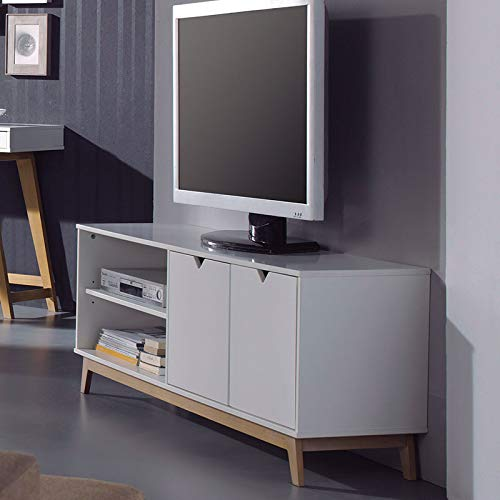 Mueble TV escandinavo Color Blanco y Madera Canberra 2: Amazon.es ...