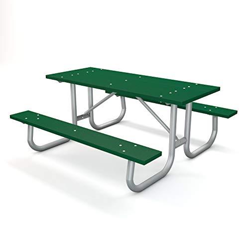 Frog Furnishings Galvanized Frame Picnic Table, 6', Green