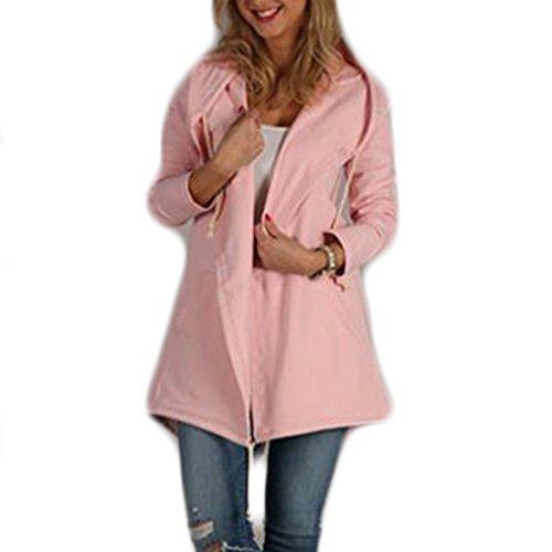 Manga Sudaderas Cazadora Irregular Outcoat Abrigo Color Sólido Suelto Rebecas Rosa Coat Encapuchado Camisa Casual Moda Hoodies Mujer larga d8qUAdw