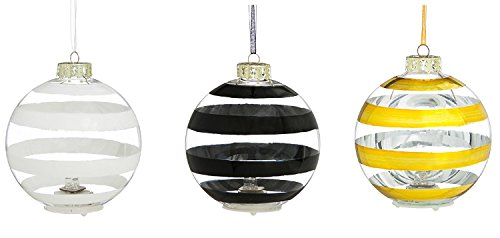 Stripe Glass Ball - Cypress Home Painted Stripe Glass Ball LED Ornaments, Set of 3