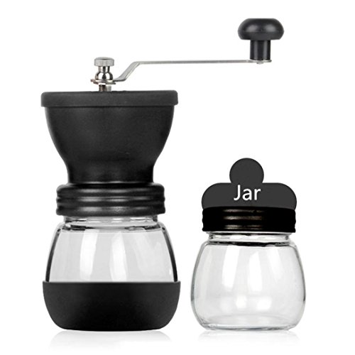 Manual Coffee Grinder, Transer Adjustable Ceramic Hand Crank Burr Mill (Silver)