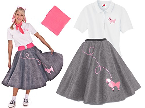 [Hip Hop 50s Shop Adult 3 Piece Poodle Skirt Costume Set Grey XLarge] (Greaser Outfit)