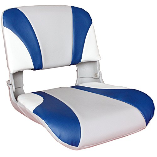 Leader Accessories Deluxe All Weather Folding Boat Seat White/Blue/Gray