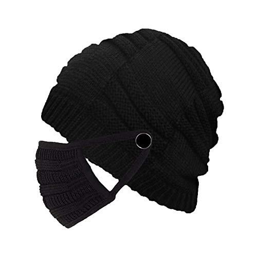 Clacce Damen Wintermütze und Mund_bedeckung, 2 in 1 Strickmütze Winter Warme Beanie Mütze, Geschenk für Weihnachten
