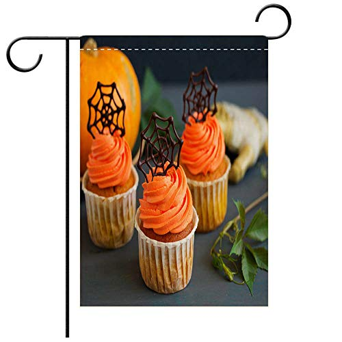BEICICI Custom Personalized Garden Flag Outdoor Flag Pumpkin Orange Cupcakes for Halloween with Chocolate Cobweb Decorative Deck, Patio, Porch, Balcony Backyard, Garden or Lawn ()