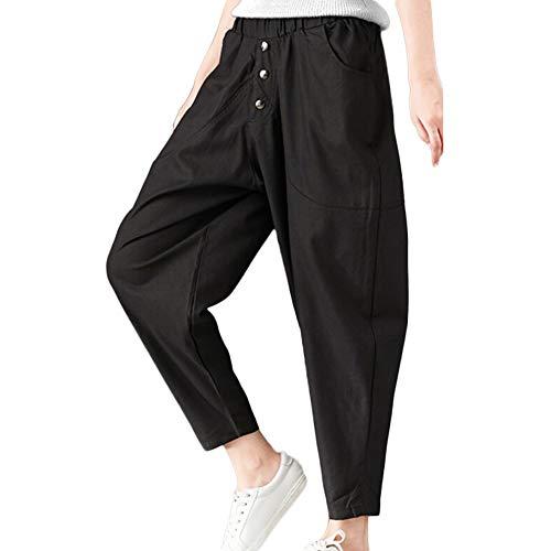 Casual Basic Pants Lache Pantalons Huat Taille SANFASHION Femme Poche Noir Lin qwzgnp6