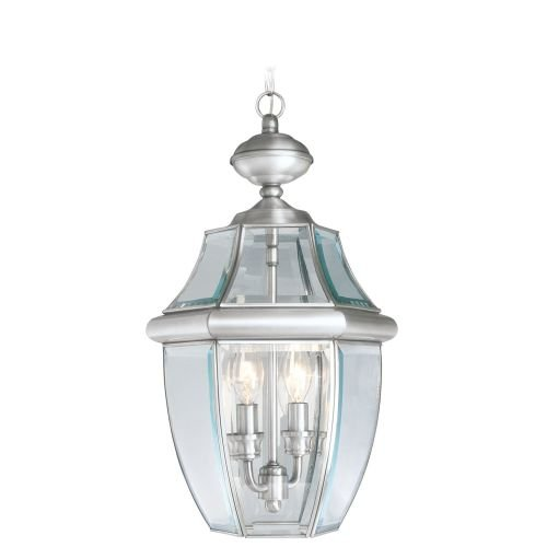 Three Light Chain Outdoor (Livex Lighting 2255-91 Monterey 2 Light Outdoor Brushed Nickel Finish Solid Brass Hanging Lantern  with Clear Beveled Glass)