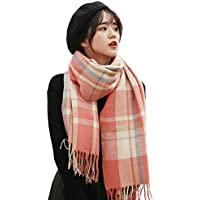 Women Scarves Cashmere Feel Plaid Fashion Soft Light Weight Large Scarf for Girls
