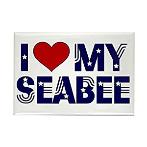 """CafePress I Love (Heart) My Seabee Rectangle Magnet, 2""""x3"""" Refrigerator Magnet from CafePress"""