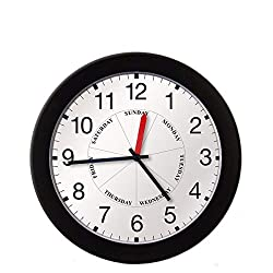 DayClocks Combination Analog Wall Clock - Time of Day and Day of the Week Clock - Office Wall Clock - Modern Black Frame