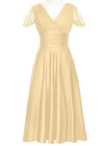 Buy gold tea length mother of the bride dress - 7