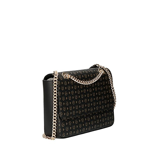 Pollini Heritage shoulder bag Tapiro Pvc calf leither black