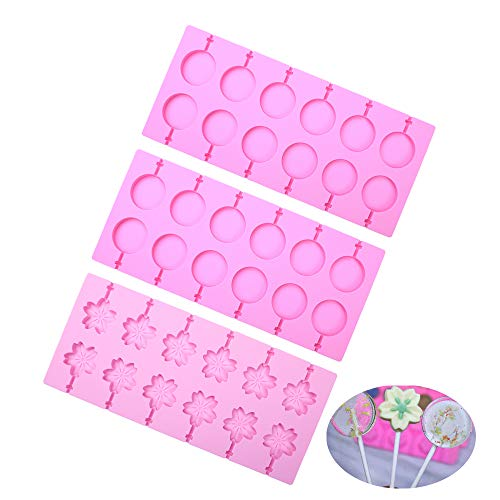 BAKER DEPOT Round Silicone Lollipop Molds 2 pcs Cherry Blossoms Chocolate Hard Candy Mold with 100pcs Paper Sticks, Set of 3 (Candy Lollipop Molds)