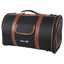 Pet Life Airline Approved Fashion 'Bark Avenue' Cylinder Designer Posh Travel Pet Dog Carrier, Navy Blue and Brown, Medium