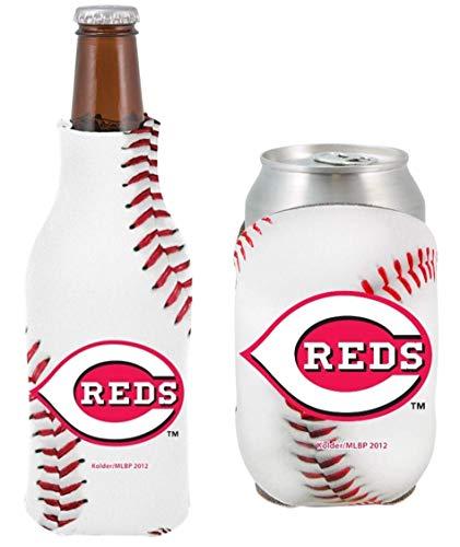 MLB Baseball Team Logo Bottle & Can Cooler Set 12oz Neoprene Beverage Drink Holder Sleeve Cooler (Cincinnati Reds)