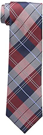 Tommy Hilfiger Men's Plaid Group Tie, Deep Red, One Size