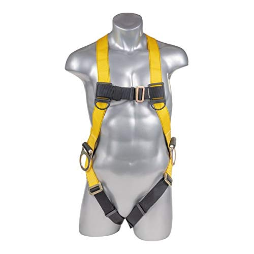 Universal Yellow/Black Full body harness with 3 point adjustment, dorsal D-ring, hip D-rings, adjustable mating buckle leg -