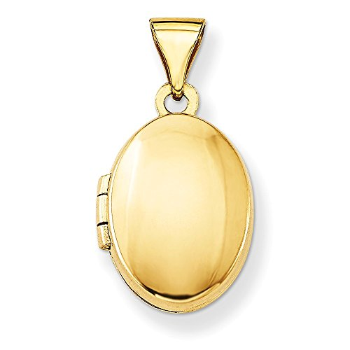 14k Yellow Gold Plain Polished Oval Locket (Gold Plated Oval Locket)