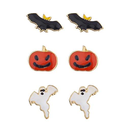 Lux Accessories Festive Halloween Bat Pumpkin Ghost Stud Post Earring Set (3prs) -