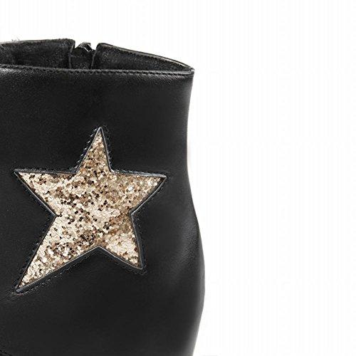 Carolbar Kvinners Snøre På Mote Paljetter Glidelås Stjerneformet Mønster Kile Skjult Hæl Martin Short Boots Black