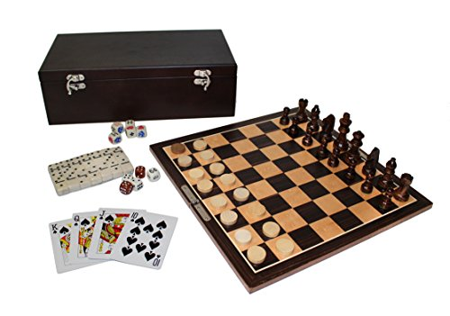 Dark Wood 7 in 1 Classic Game Combo Set in Hinged Wooden Case Chess Checkers Backgammon Dominoes Poker Dice Cribbage Playing Cards ()