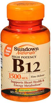 Sundown Naturals B12 1500 mcg Time Release - 60 Tablets, Pack of 6 by Sundown Naturals