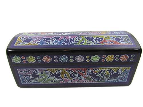 El Relicario de Los Tesoros Hand Crafted STASH Jewelry Trinket Box OLINALA Mexico LACQUERWARE INCISED Chest (Black-Purple Rainbow)