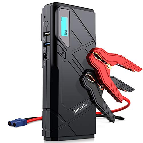 Imazing Portable Car Jump Starter - 1500A Peak 12000mAH (Up to 8L Gas or 6L Diesel Engine) 12V Auto Battery Booster Portable Power Pack with LCD Display, Smart Jumper Cables and LED Flashlight