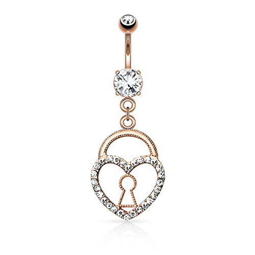 Keyhole Heart Lock with Paved Gems Dangle WildKlass Navel Ring (Sold by Piece)
