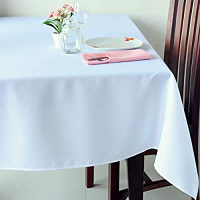 "Stain Resistant White Rectangle Tablecloth Polyester Table Cover - For Kitchen Dining Room Washes Easily Non Iron - Thanksgiving Christmas New Year Eve dinner (WHITE plain, Rectangle 52""x70"") - UNIQUE AND ELEGANT DESIGN: These beautiful tablecloths come in elegant white so that they will suit any space and style. The table linens have a classic plain design that are incredibly chic and discreet so that they can be perfect for everyone IDEAL FOR EVERY OCCASION:The tablecloth will be an amazing addition to every event decoration and every family dinner. Use these amazing table linens for weddings, Thanksgiving, X-mas, New Year Eve, parties or holiday dinners. The white tablecloth will look amazing on your Christmas or Thanksgiving dinner table! INCREDIBLY EASY TO CARE:Forget about the tablecloths that get stains all over and look like a mess! Thistablecloth is made with stain resistant fabric and it is incredibly easy to wash and takecare of. And no need to worry about ironing! These tablecloths will always look flawless without any ironing! - tablecloths, kitchen-dining-room-table-linens, kitchen-dining-room - 41VUsiPOXkL. SS400  -"