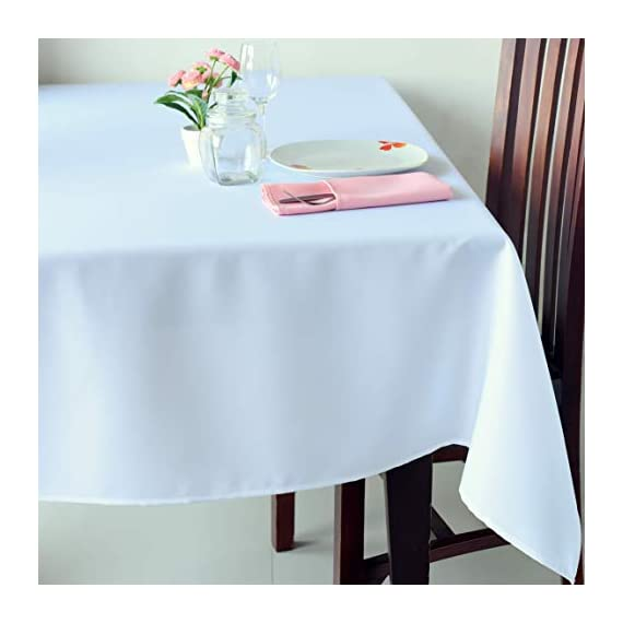 "Stain Resistant White Rectangle Tablecloth Polyester Table Cover - For Kitchen Dining Room Washes Easily Non Iron - Thanksgiving Christmas New Year Eve dinner (WHITE plain, Rectangle 52""x70"") - UNIQUE AND ELEGANT DESIGN: These beautiful tablecloths come in elegant white so that they will suit any space and style. The table linens have a classic plain design that are incredibly chic and discreet so that they can be perfect for everyone IDEAL FOR EVERY OCCASION:The tablecloth will be an amazing addition to every event decoration and every family dinner. Use these amazing table linens for weddings, Thanksgiving, X-mas, New Year Eve, parties or holiday dinners. The white tablecloth will look amazing on your Christmas or Thanksgiving dinner table! INCREDIBLY EASY TO CARE:Forget about the tablecloths that get stains all over and look like a mess! Thistablecloth is made with stain resistant fabric and it is incredibly easy to wash and takecare of. And no need to worry about ironing! These tablecloths will always look flawless without any ironing! - tablecloths, kitchen-dining-room-table-linens, kitchen-dining-room - 41VUsiPOXkL. SS570  -"