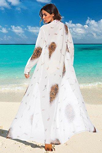 Summer Bikini Floral Abierto Blanco Encubrimiento Split Print Frontal Maxi Mujeres Beachwear dxt0d