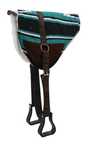 (Navajo Bareback Saddle Pad with Kodel Fleece Bottom and Suede Wear Leathers with Stirrups Teal)