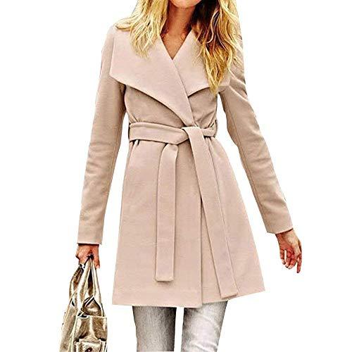 Cappotto Donna Eleganti Moda Primaverile Autunno Bavero Manica Lunga Trench Slim Fit Colori Solidi Casual Costume Comodo Giacca Outerwear Cintura Inclusa Khaki