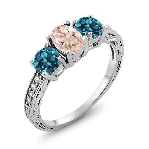 Gem Stone King 2.07 Ct Oval Peach Morganite London Blue Topaz 925 Sterling Silver Ring (Size 6) ()