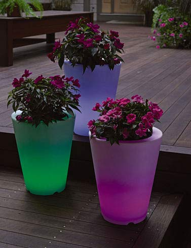 Solar Illuminated Planter, Small Round]()