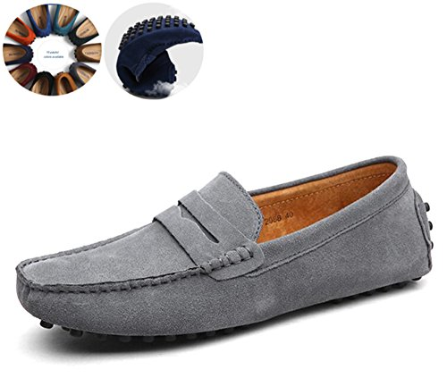 Go Tour Men's Classy Fashion Slip Penny Loafers Casual Suede Leather Moccasins Driving Shoes Flats Classic Boat Shoes Grey 43