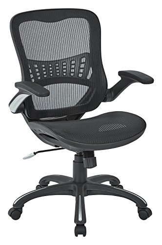 (Office Star Mesh Back & Seat, 2-to-1 Synchro & Lumbar Support Managers Chair, Black)