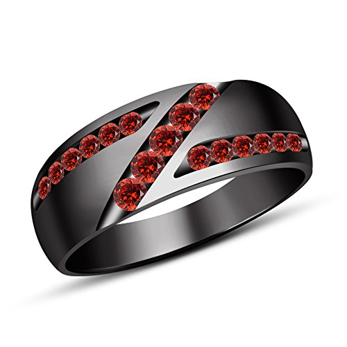TVS-JEWELS 925 Sterling Silver Men's Engagement Wedding Band Ring With Round Cut Red Garnet (10)